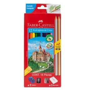 Colores Triangulares Largos + Tajador + 2 Lápiz x 12 Unidades Faber Castell