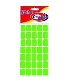 Etiquetas  19 x 13 mm Flourescente Verde  x 500 unid. Pegafan