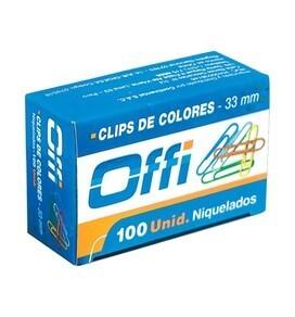 Clips Metálicos de Colores 33 mm x 100 unid. Offi
